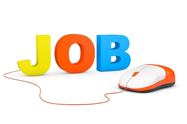 Freelance concept. job sign and computer mouse on a white background