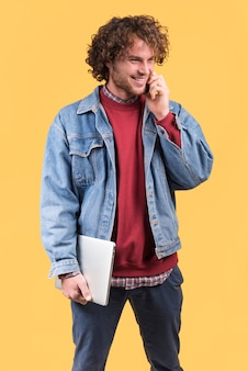 Freelance concept with man making phone call
