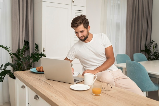 Freelancer enjoying work at home