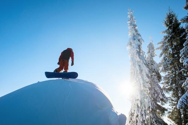 山の斜面を歩くフリーライダースノーボーダー。森、太陽と青い空を背景に