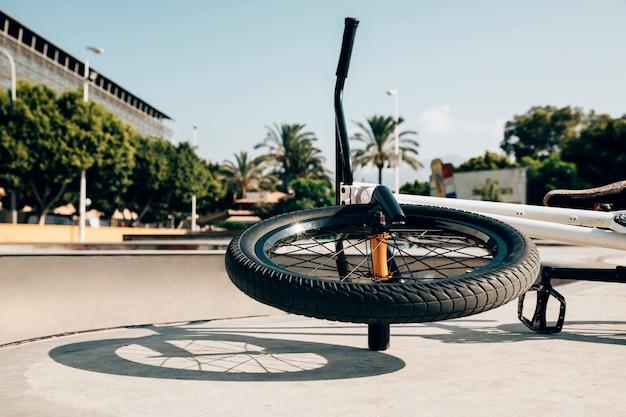 Freestyle bmx bike in skatepark