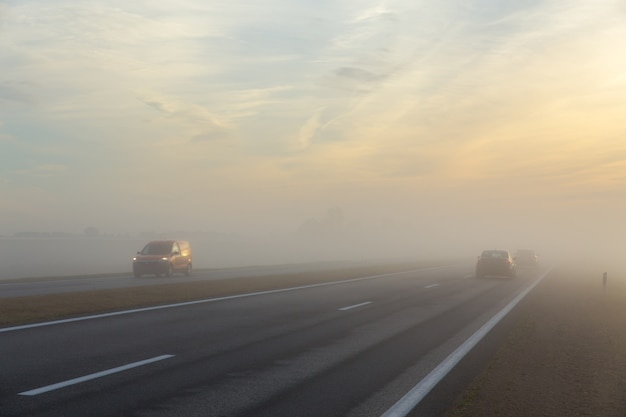 Freeway and a car in fog