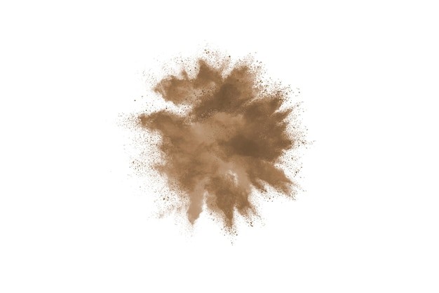 Freeze motion of brown color powder exploding on white