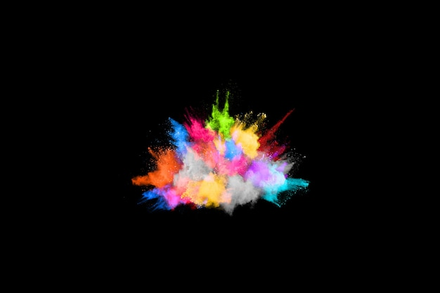 Freeze motion of color powder exploding/throwing color powder.