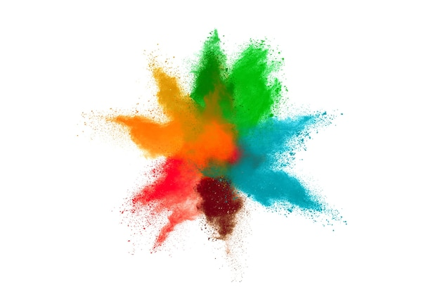 Freeze motion of color powder exploding on white