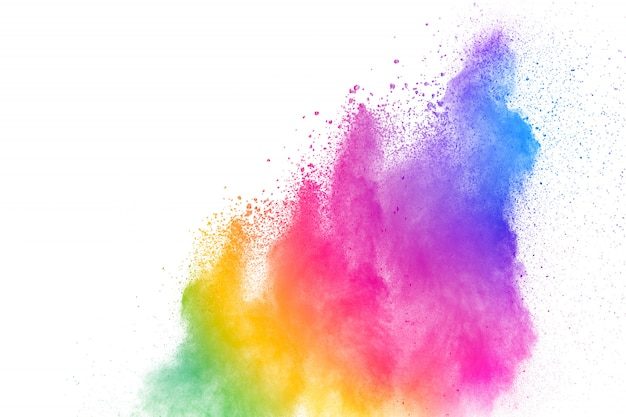 Freeze motion of colored powder explosions