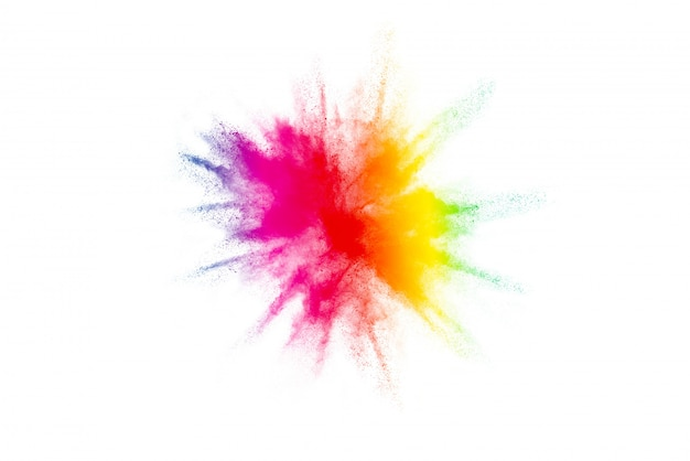 Freeze motion of colorful color powder exploding on white.