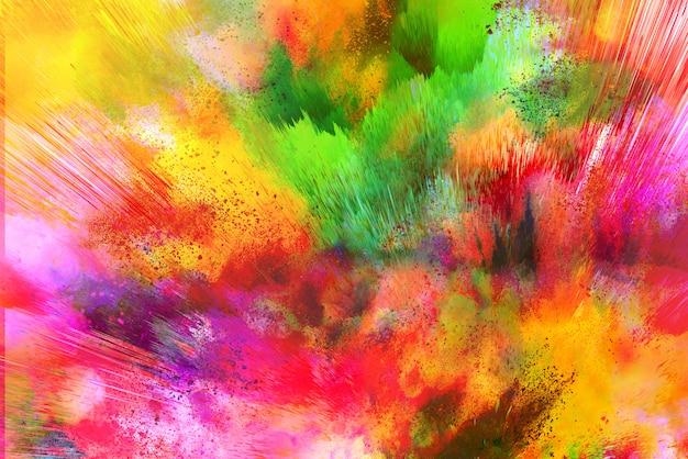 Заморозить движение разноцветного порошка цвета взрыва на белом фоне