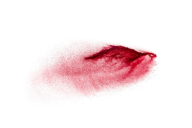 Freeze motion of red dust particles splash.