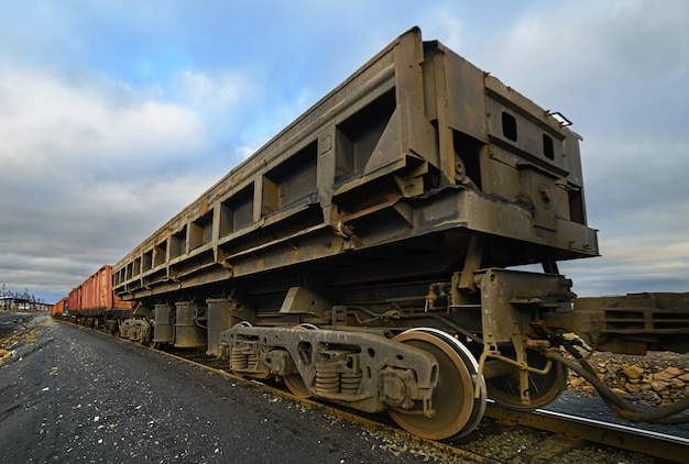 Freight cars at the railway. cargo wagon for bulk cargo.