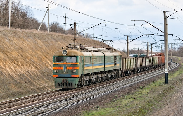 Freight electric train in dnipropretrovsk region in ukraine