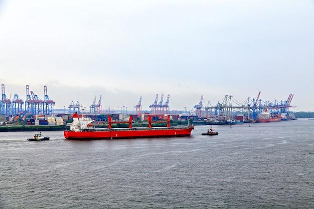 Freight industrial harbor in hamburg, germany
