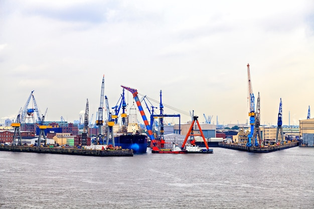 Freight industrial port in hamburg, germany