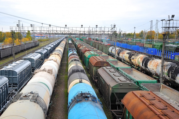 Freight rail cars at the marshalling yard