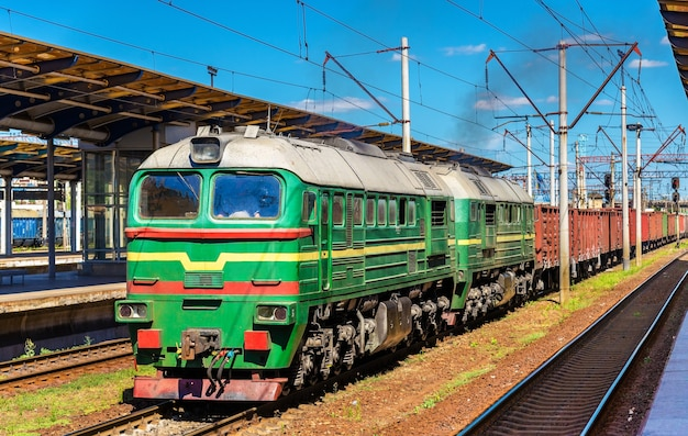 Freight train at darnytsia railway station in kyiv, ukraine