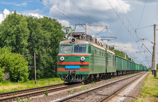 Freight train hauled by electric locomotive in ukraine