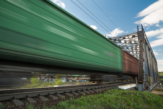 Freight train in motion
