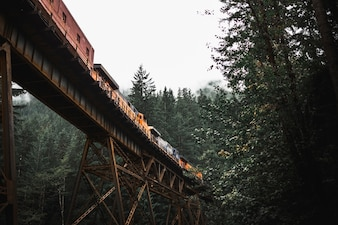 Freight train on bridge