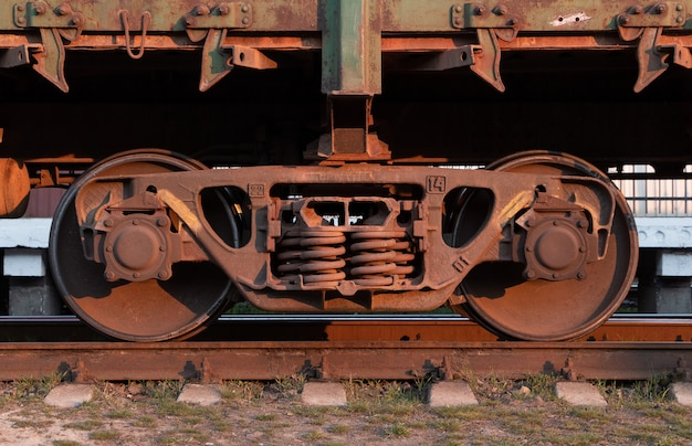 Freight train wheels. side view.