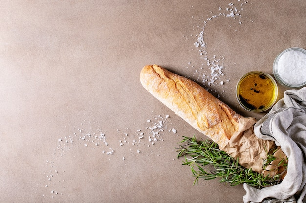 French baguette with rosemary