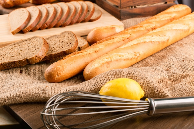 French baguette with turkish bagels and slices of bread