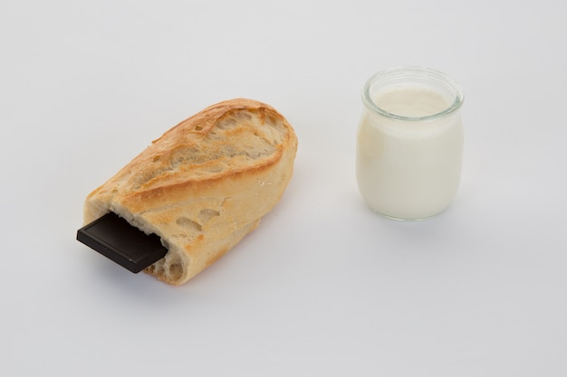 French break, baguette with chocolate and yogurt