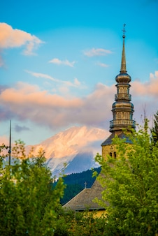 French church and mont blanc