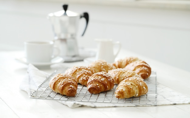 French croissants for breakfast