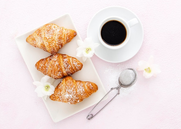 French croissants with vanilla and coffee