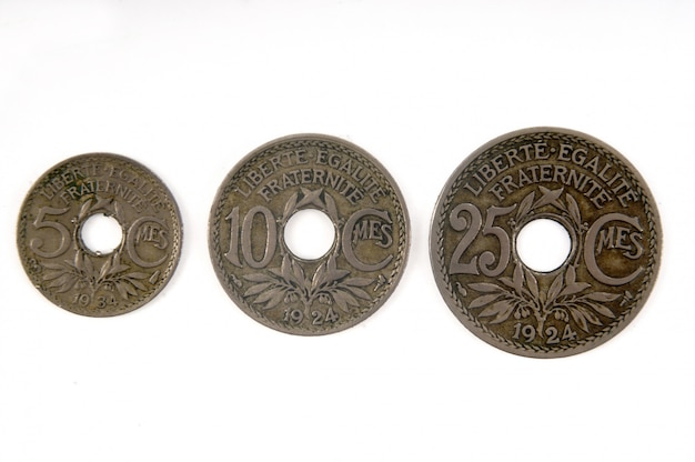 French currency of the twentieth century 5,10 and 25 cents