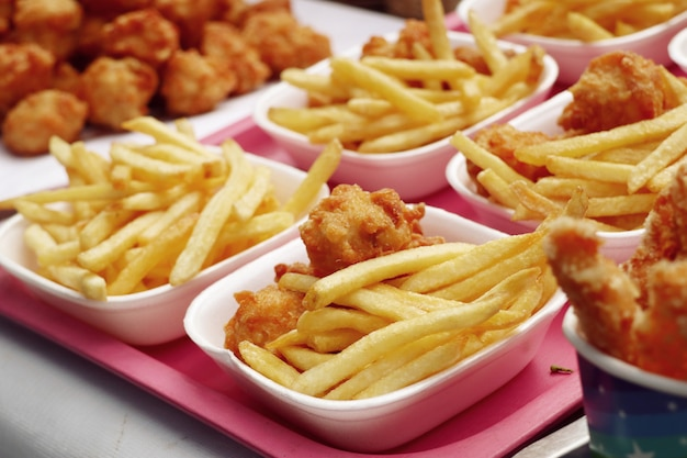 French fries and  fried chicken
