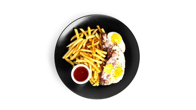 French fries potatoes with fried eggs isolated on a white background. fried potaoes isolated. high quality photo