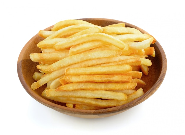 French fries on a white