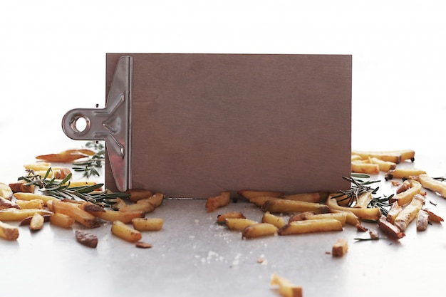 French fries with clipboard
