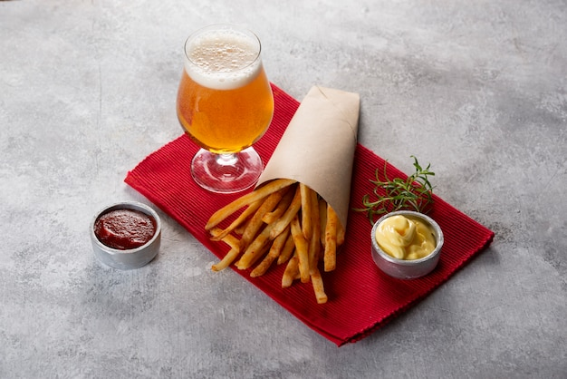 French fries with glass of beer