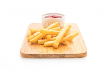 French fries with tomato sauce isolated