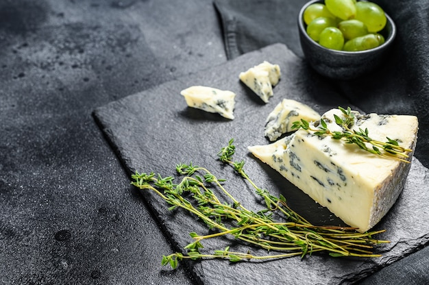 French gorgonzola cheese with grapes