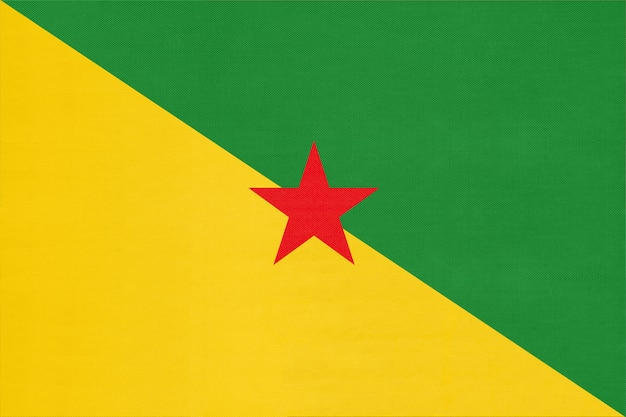 French guiana national fabric flag, textile background. symbol of international world america country.