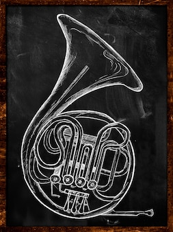 French horn drawing on blackboard