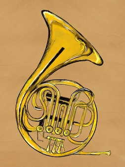 French horn painting image