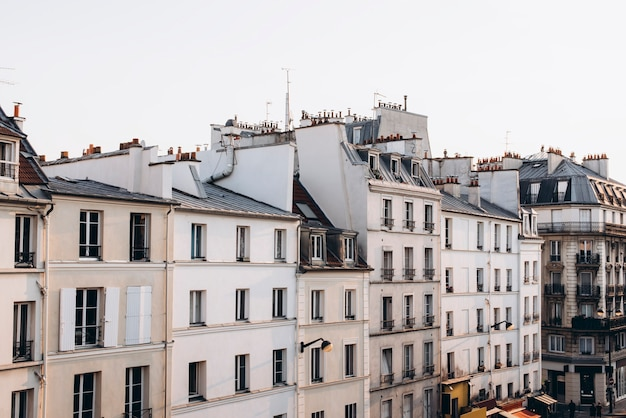 French houses with balconies and windows apartment buildings paris france
