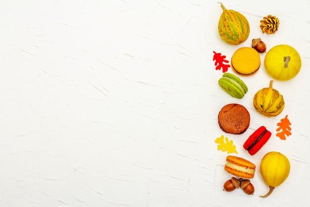 Французские макароны в осенних тонах. декоративные тыквы, осенние листья и желуди на белом фоне замазки, вид сверху
