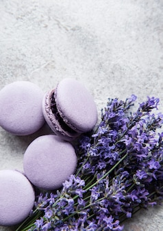 French macarons with lavender flavor and fresh lavender flowers on a concrete background