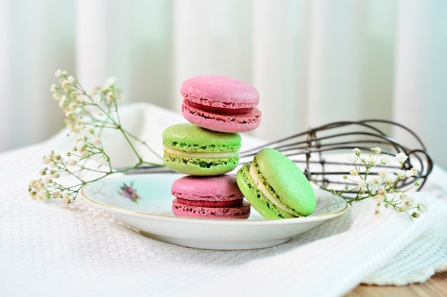 French macaroons on a beautiful decorated table