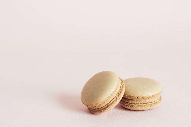French macaroons cookies with coffee flavors. holidays food concept with copy space.