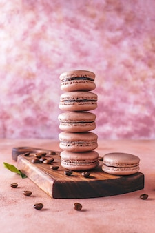 French macaroons with coffee beans.