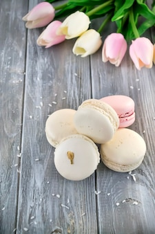 French macaroons with flower
