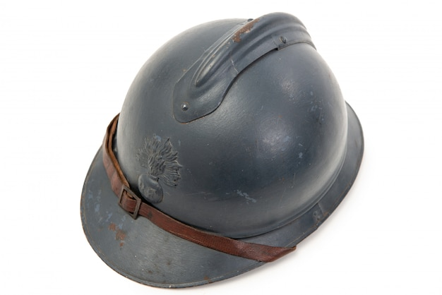 French military helmet of the first world war on white