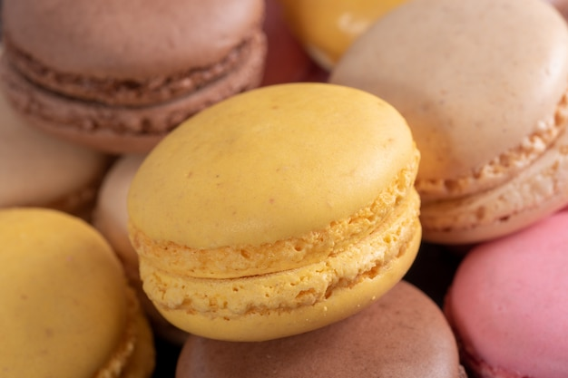French multicolored macaroons close up