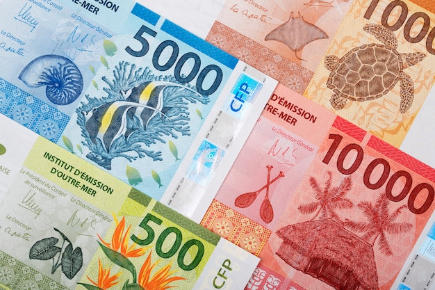 French pacific territories money. franc business background